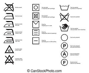 Cloth symbols - Common cloth symbols of ironing, washing and...