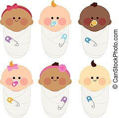 cloth., vector, illustratie, groep, verpakte, pasgeboren, baby's, anders