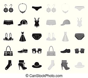 Clothes and accessories black.mono icons in set collection...