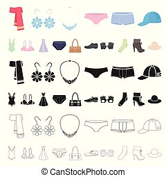 Clothes and accessories cartoon icons in set collection for...