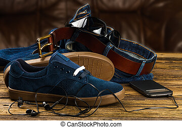 clothes and accessories - dark blue men's shoes, jeans, ...