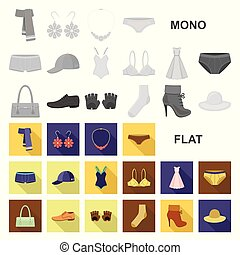 Clothes and accessories flat icons in set collection for...