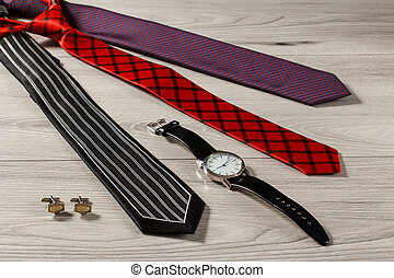 Clothes and accessories for men on a gray background
