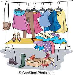 Clothes and Accessories - Illustration Featuring Different...