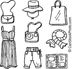 Clothes and accessories of doodles