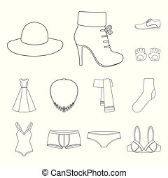 Clothes and accessories outline icons in set collection for...
