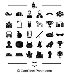 clothes, animal, award and other web icon in black style. prize, appearance, hair, travel icons in set collection.