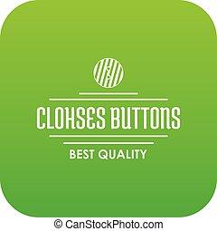 Clothes button accessory icon green vector