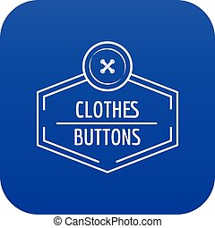 Clothes button craft icon blue vector