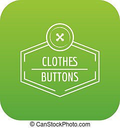 Clothes button craft icon green vector isolated on white...