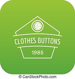 Clothes button dress icon green vector isolated on white...