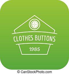 Clothes button dress icon green vector