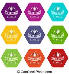 Clothes button dress icons set 9