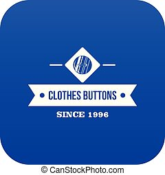 Clothes button element icon blue vector
