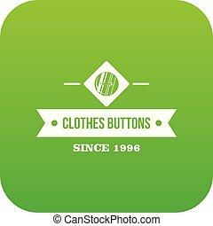 Clothes button element icon green vector
