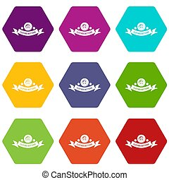 Clothes button fabric icons set 9