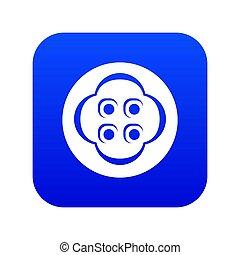 Clothes button icon blue