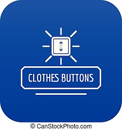 Clothes button icon blue vector
