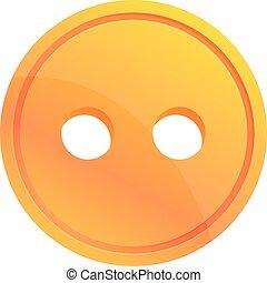 Clothes button icon, cartoon style