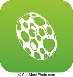 Clothes button icon green vector