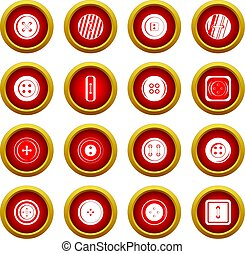 Clothes button icon red circle set