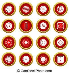 Clothes button icon red circle set