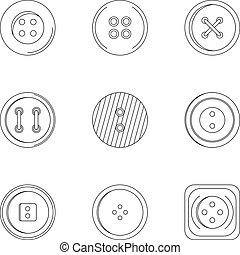 Clothes button icon set, outline style