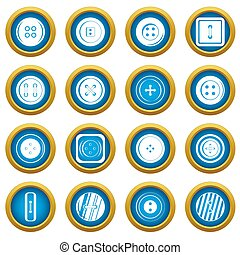 Clothes button icons blue circle set