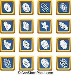 Clothes button icons set blue square vector