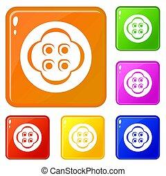 Clothes button icons set color