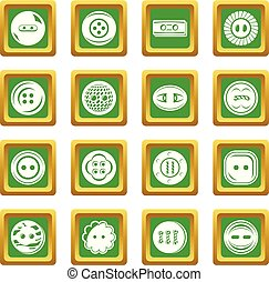 Clothes button icons set green square vector