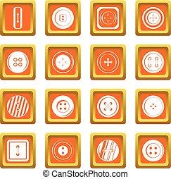 Clothes button icons set orange