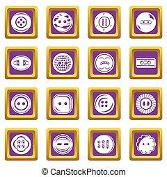 Clothes button icons set purple square