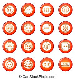 Clothes button icons set red