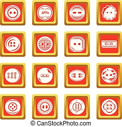 Clothes button icons set red square vector