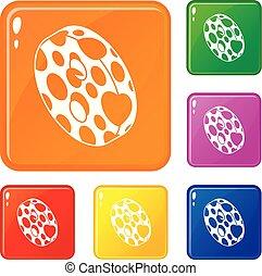 Clothes button icons set vector color