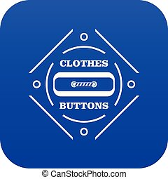 Clothes button plastic icon blue vector