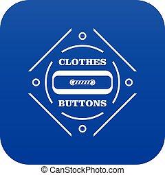 Clothes button plastic icon blue vector