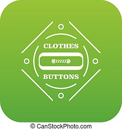 Clothes button plastic icon green vector