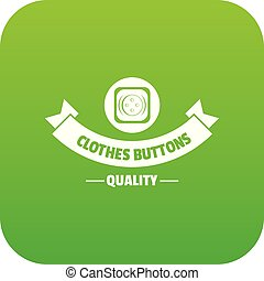 Clothes button retro icon green vector isolated on white...