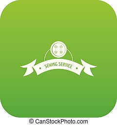 Clothes button round icon green vector