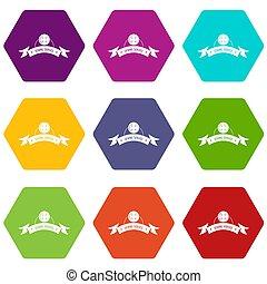 Clothes button round icons set 9