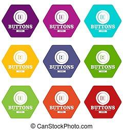 Clothes button textile icons set 9