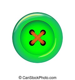 Clothes button, vector icon. Art and crafts in green bright colors. Fashion and needlework