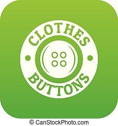 Clothes button vintage icon green vector