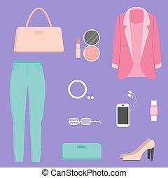 Clothes collection, vector illustration - Fashion Clothes...