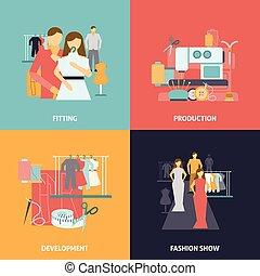 Clothes design icons set