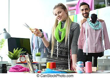 Clothes Design Process Stylish Needlework Concept. Designers...