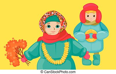 clothes., dessin, folklorique, vcetor, enfants, petit,...