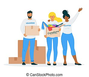 Clothes donating to charity flat vector illustration